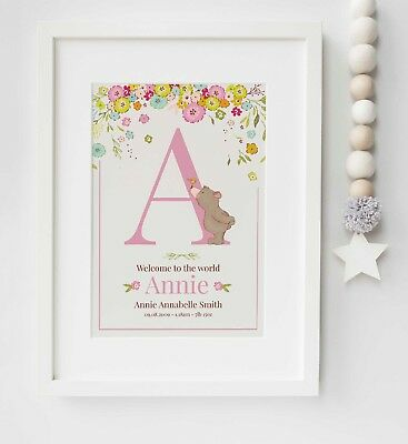 Personalised Animal Birth Baby Nursery Picture Print Poster Christening UNFRAMED