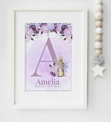 Peter Rabbit Personalised Baby Picture Nursery Print Name Art Gift UNFRAMED