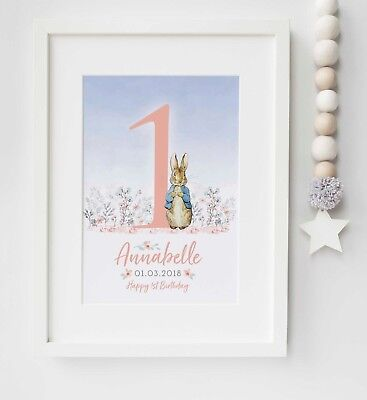 Personalised Peter Rabbit Birthday Poster Sign Party Nursery Print Gift UNFRAMED