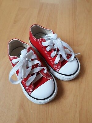 Girls boys unisex toddler infant red camvas converse size 5 in vgc