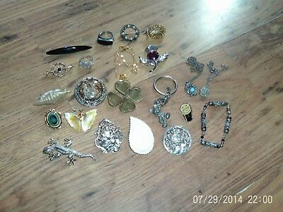 Mixed Job Lot Mainly Vintage Costume Jewellery Nouveau Style Brooch Etc