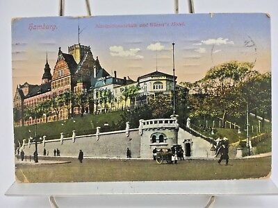 Postcard~Hamburg Germany~Navigationsschule and Wiezel's Hotel~Posted 1913