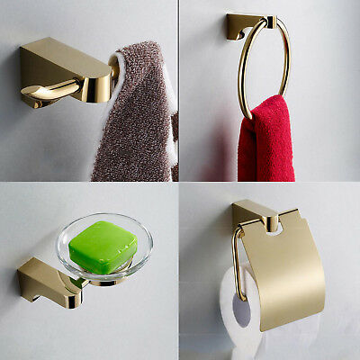 Bathroom Accessory Tissue Towel Holder Soap Dish Robe Hook ,champagne gold Brass
