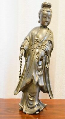 Vintage Chinese Hong Kong Pewter Statue Kwan Yin ~ 19 inches tall ~