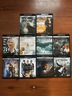 4k Blu Ray Movie Lot of 10 Fantastic 4 Kingsman Joy Chappie Exodus Life of Pi