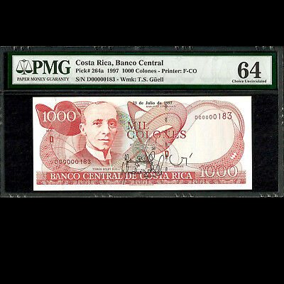 Costa Rica 1000 Colones 1997 Autographed Low Serial PMG 64 UNCIRCULATED P-264a