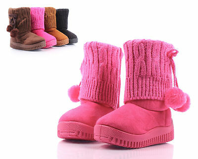 Fuchsia New Cute Faux Suede Pom Pom Booties Toddlers Kids Girls Boot Size 1