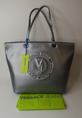 d95259521777 Womens Bag Versace Jeans E1VSBBX1 70828 Shopping Tote Grey Silver Eco  Leather