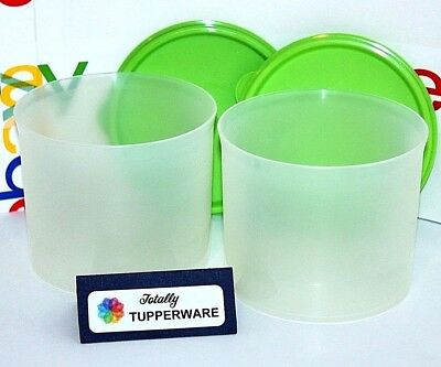 Tupperware Canisters Set of 2 Mini Stacking 2.5 Cup Containers with Green Seals