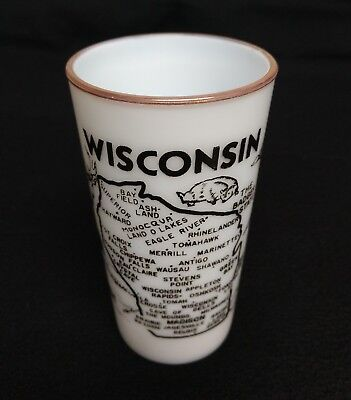 Vintage 1950s Wisconsin Hazel Atlas Milk Glass State Souvenir Glass Tumbler 5""