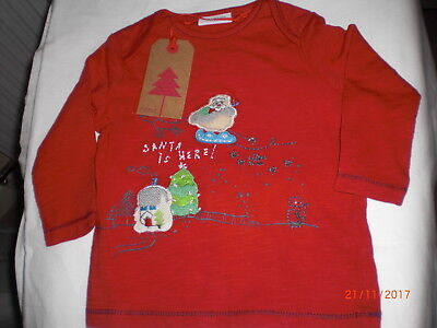 NEXT Christmas Top 3/6 mths Red long sleeve Christmas appliqued design BNWT