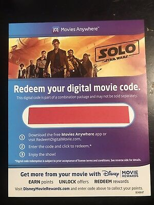 Solo Star Wars Story Digital Movie Code Only