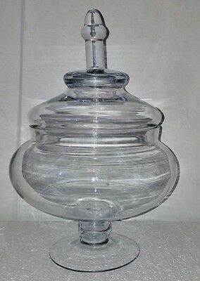 Vintage Large Thick Glass Apothecary Candy Drugstore Jar Holidays Wedding Buffet