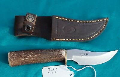 Ruko Fixed Blade Hunting Knife W Stag Handle Leather Sheath By Muela 46 99 Picclick