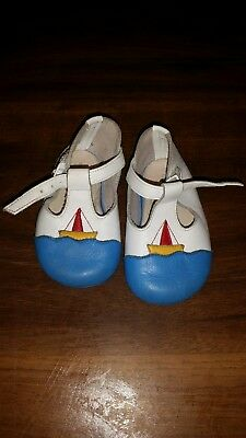 Vintage Mothercare Soft Sole Baby Boys Sail Boat Crib Shoes Size 2 - 6-12 Months