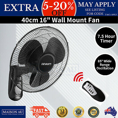 3 Blade Oscillating Wall Fan 40cm With 3 Speed Timer Remote Mount Air Cooler New