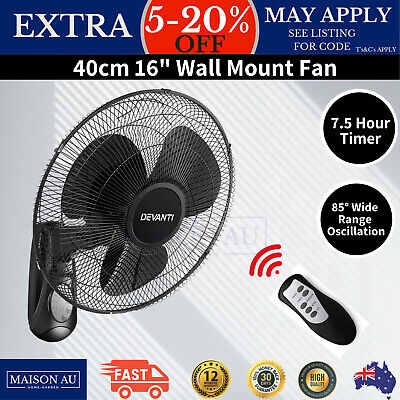 Wall Mount Fan 3 Speed 40cm Mounted Air Cooler Oscillating Remote Control Timer