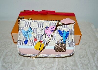 NIB Louis Vuitton Mini Pochette Christmas Animation Birds 2018 Damier Azur Rare