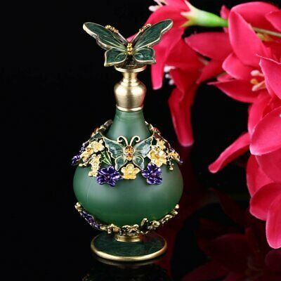 23ml Antique Butterfly Empty Crystal Metal Perfume Bottle Wedding Gift Art Decor