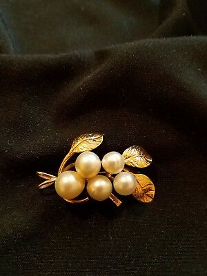 Vintage Estate Jewelry unmarked/tested 14K Solid Gold Pearl Leaf Brooch Pin