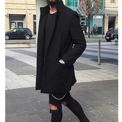 Mens Wool Coat Winter Trench Coat Outwear Overcoat Long Jacket Parka Windbreaker