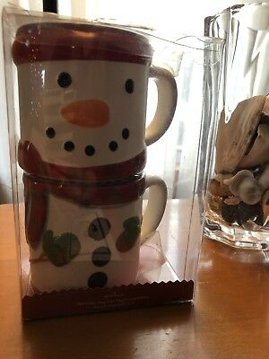 Hallmark Christmas Holiday Snowman Stackable Set of 2 Soup Coffee Cups Mugs