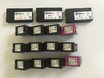 15 empty Ink Cartridges HP 61 & HP 952 - Mostly BLACK - Virgin Never Refilled