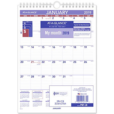 """AT-A-GLANCE 2019 Monthly Wall Calendar, 8"""" x 11"""", Small, Wirebound PM128"""