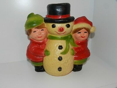 Vintage Christmas Blow Mold Snowman Boy & Girl Union Products Yard Decoration