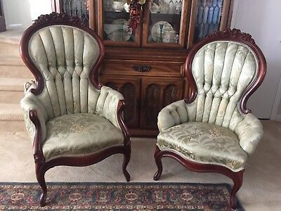 """Pair Elegant Victorian Style """"His & Hers"""" Mahogany Chairs Light Green Upholstery"""