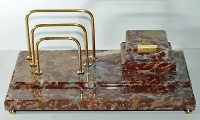 Vintage Art Deco Marble and Brass Desk Tidy c.1920