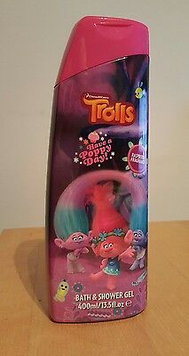 3 x TROLLS movie bath and shower gel 400 ml 13.5fl.oz RASPBERRY kids girls Poppy