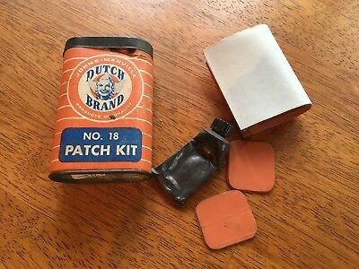 Vintage Dutch Brand No 18 Patch Kit With Patches Tin Lid