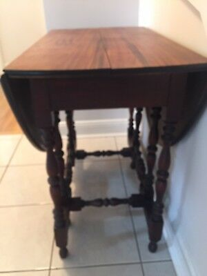 Vintage Solid Wood Gate Leg Drop Leaf Table Mid-Century  Carved