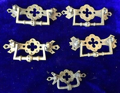 Rare Original 5 Antique Church Ornate Gothic Brass Handles C1880
