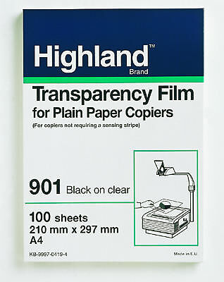 2 sealed packs Highland Transparency Film for plain Paper Copiers 100 Sheets 200
