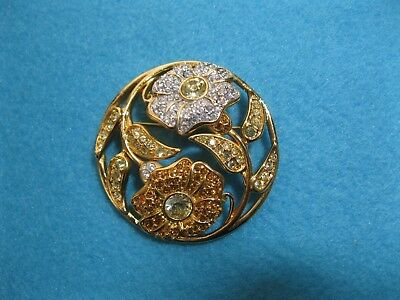 Swarovski Signed Harmony Brooch Pin Gold Plated dated 2001
