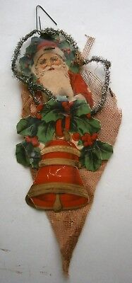 Old Santa Candy Container Bag Christmas Ornament made in Japan, pre-warII