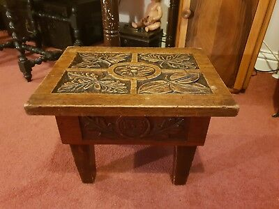 Stunning Antique English Arts And Craft Small Carved Oak Side / Coffee Table