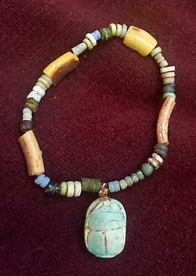Ancient Faience Bead and Roman Glass Bracelet with Vintage Scarab HENDIN COA