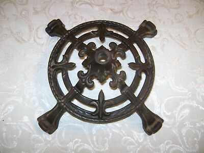 Vintage Cast Iron Metal Fleur de Lis Industrial Mining Steampunk Base Decor 12""