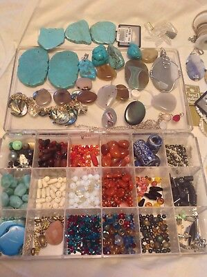 Huge Lot Beads Precious Stone Hematite Agate Turquoise Findings Jewelry Making S