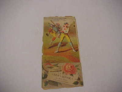 1880's Victorian Trade Card Baseball Player With Bat on Album Page