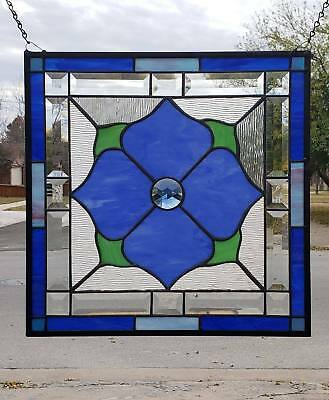 """• Princess  •• Steal Deal • -50 % off Beveled Stained Glass Window Panel • 17 ½"""""""