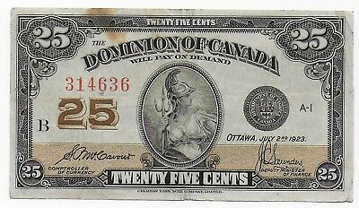 Canada Dominion Shinplaster 25 Cents 1923 Mccavour Saunders Free Shipping