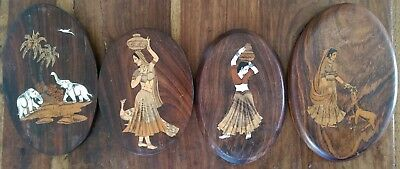 Vintage Indian marquetry wall plaques inlaid with various types of wood & bone