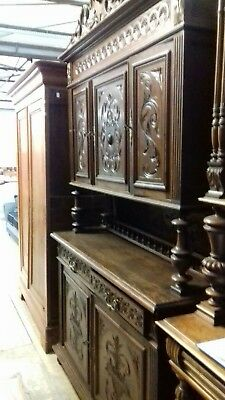 Antique Stunning 19Thc French/carved 4 Piece Buffet Sideboard From Brest