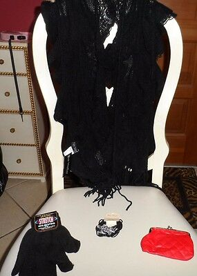 Ladies gift set - black ruffle scarf, knit gloves, red coin purse, bracelet