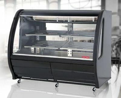 """New Black 74"""" Curved Glass Deli Bakery Display Case Refrigerated Casters Tor Rey"""