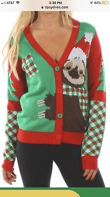 Tipsy Elves Women's Cuddly Sloth Ugly Christmas Sweater XS